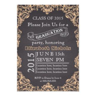 Class of 2015 chalkboard peach graduation card