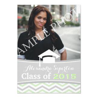 Class of 2015 chevron grey, mint graduation cap card