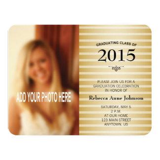Class of 2015, Gold Stripes Photo Graduation Card