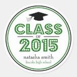 Class Of 2015 Graduation Favour (Green / Black) Round Sticker
