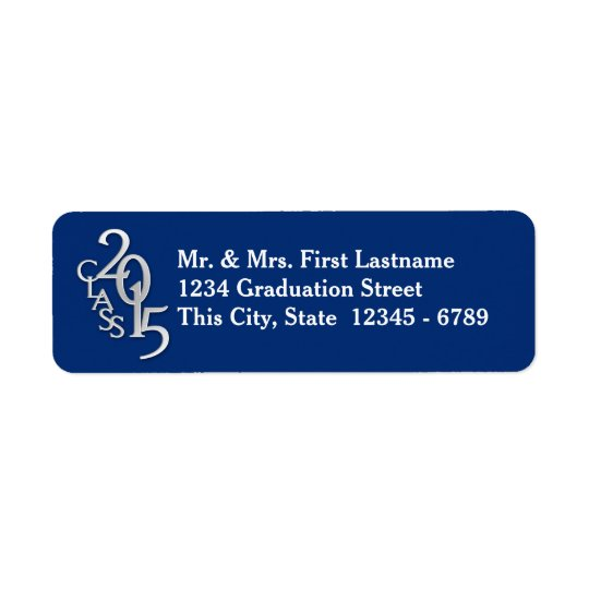 Class of 2015 Graduation Silver Blue Return Address Label