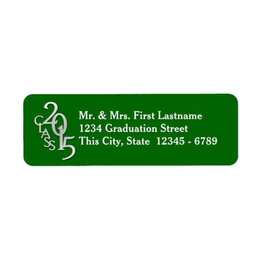 Class of 2015 Graduation Silver Green Return Address Label
