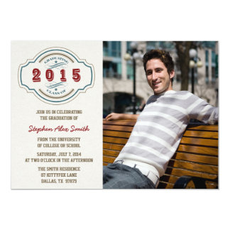 "Class of 2015 gray blue red photo graduation party 5"" x 7"" invitation card"