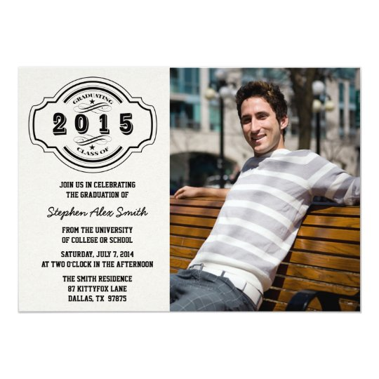 Class of 2015 grey black photo graduation party card