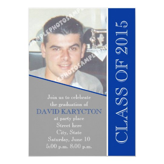 Class of 2015 grey, blue graduation photo card