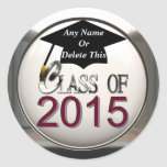 Class Of 2015 Maroon & Silver Graduation Stickers