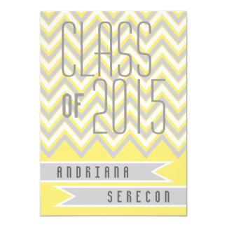 Class of 2015 modern chevron yellow graduation card