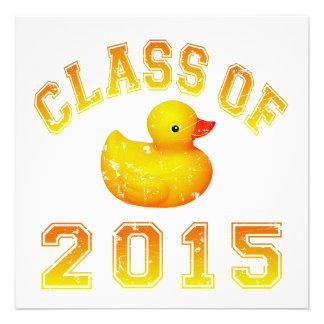 Class Of 2015 Rubber Duckie - Orange 2 Personalized Invitation