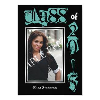 Class of 2015 teal text graduation photo card