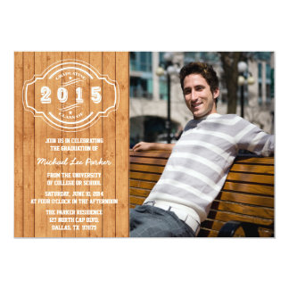 Class of 2015 wood plank photo graduation party 5x7 paper invitation card