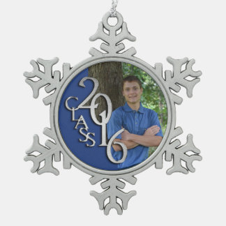 Class of 2016 Blue and Silver Graduate Photo Snowflake Pewter Christmas Ornament