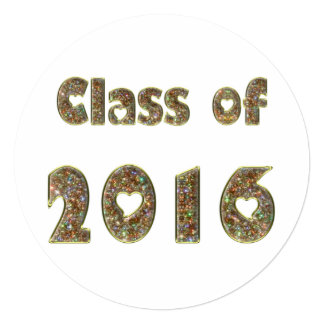 Class of 2016 Chic Gold Glitter Hearts Typography Card