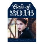 "Class of 2016 Classic Typography | Navy Graduation 5"" X 7"" Invitation Card"