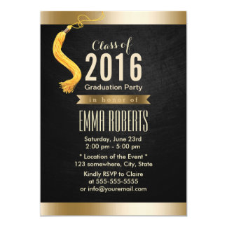 Class of 2016 Classy Black & Gold Graduation Party Card