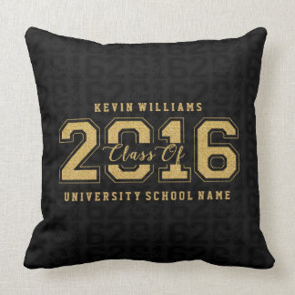 Class Of 2016 Gold Glitter On Black Pattern Throw Pillow
