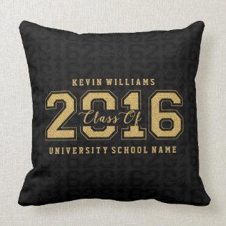 Class Of 2016 Gold Glitter On Black Pattern Throw Pillow
