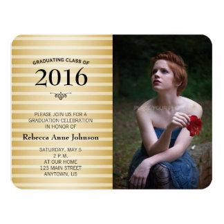 Class of 2016, Gold Stripes Photo Graduation Card