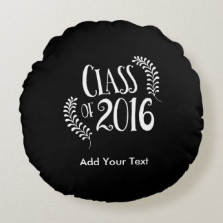 Class of 2016 Gothic Black and White Round Pillow