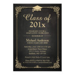 """Class of 2016 Grad Cap Elegant Classy Graduation 5"""" X 7"""" Invitation Card"""
