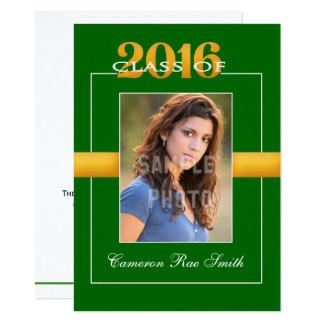 Class of 2016 Green & Yellow Graduation Party Card