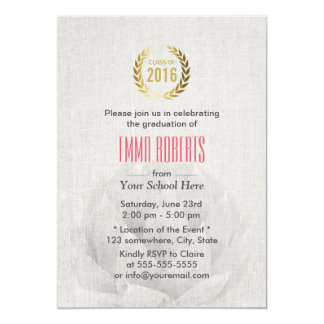 Class of 2016 Lotus Floral Classy Linen Graduation Card