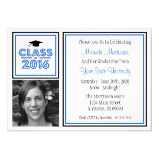 Class Of 2016 Photo Graduation Invitation (Blue)