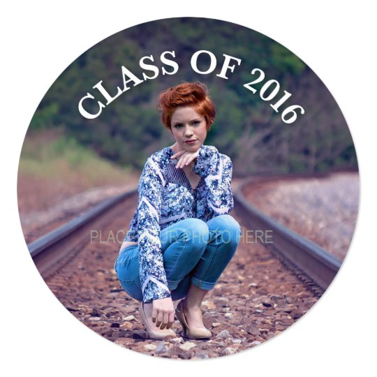 Class of 2016, Photo Graduation Party, Round Card