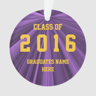 Class of 2016 Purple and Gold Round Ornament