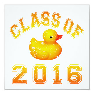 Class Of 2016 Rubber Duckie - Yellow/Red 2 Custom Invitation