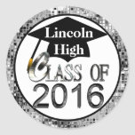 Class Of 2016 Sparkling Silver Graduation Seals Round Sticker