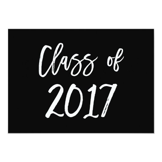 Class of 2017 | Black and White Graduation Party Card