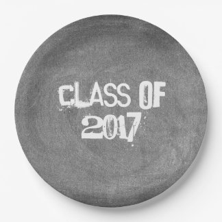 Class of 2017 Black White Chalkboard Typography 9 Inch Paper Plate