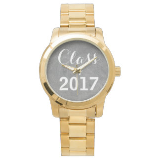 Class of 2017 Black White Chalkboard Typography Watches