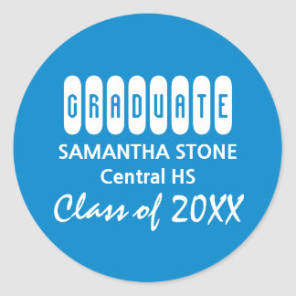 Class of 2017 Blue White Graduation Envelope Seal