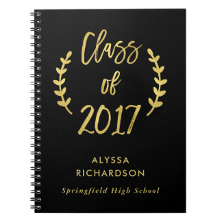 Class of 2017 Botanical Script Faux Gold on Black Notebooks