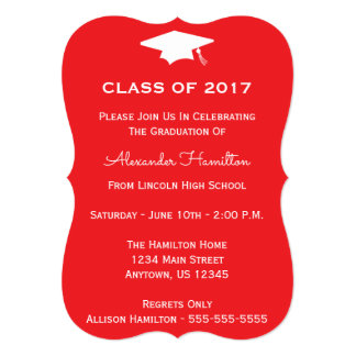Class Of 2017 Cap Graduation Invite (Red)