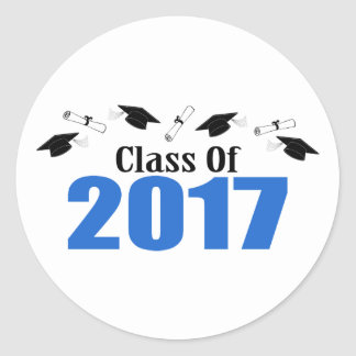 Class Of 2017 Caps And Diplomas (Blue) Classic Round Sticker