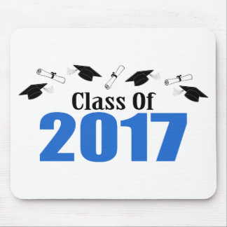Class Of 2017 Caps And Diplomas (Blue) Mouse Pad