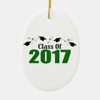 Class Of 2017 Caps And Diplomas (Green) Ceramic Ornament