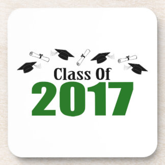 Class Of 2017 Caps And Diplomas (Green) Coasters