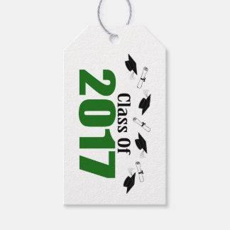Class Of 2017 Caps And Diplomas (Green) Gift Tags