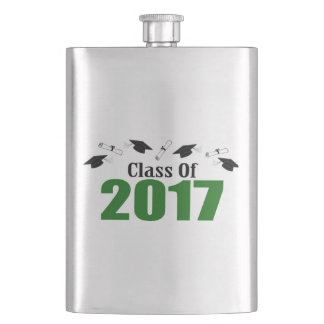 Class Of 2017 Caps And Diplomas (Green) Hip Flask