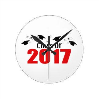 Class Of 2017 Caps And Diplomas (Red) Clocks