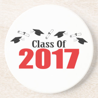 Class Of 2017 Caps And Diplomas (Red) Drink Coaster