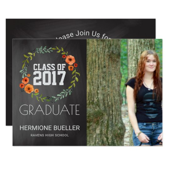 Class of 2017 Chalkboard Floral | Photo Graduation Card