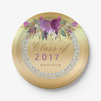 Class of 2017 Flowers Diamonds Gold Graduation Paper Plate