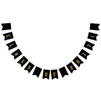 Class of 2017 Gold and Black Bunting Banner