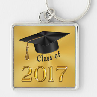 Class of 2017 Gold and Black Graduation Gifts Silver-Colored Square Keychain