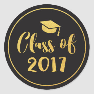 Class of 2017 Gold Script Circle Graduation Favor Classic Round Sticker