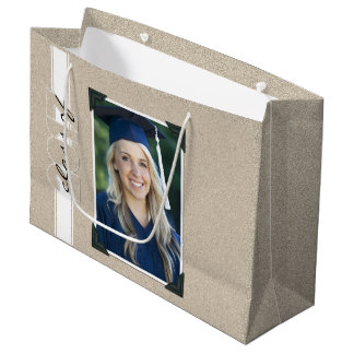 Class of 2017 Graduate's Photo Faux Glitter Effect Large Gift Bag